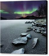 Aurora Borealis Over Sandvannet Lake Canvas Print by Arild Heitmann