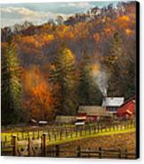 Autumn - Barn - The End Of A Season Canvas Print by Mike Savad
