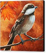 Autumn Chickadee Canvas Print by Crista Forest