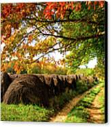 Autumn Hay Bales Blue Ridge Mountains II Canvas Print