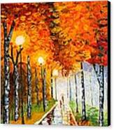 Autumn Park Night Lights Palette Knife Canvas Print by Georgeta  Blanaru