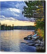 Autumn Sunset At Lake Canvas Print