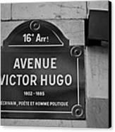 Avenue Victor Hugo Paris Road Sign Canvas Print