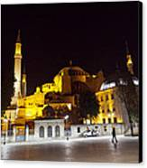 Aya Sophia In Istanbul Turkey At Night Canvas Print by Raimond Klavins