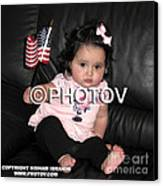 Baby Girl With An American Flag And Voting Sticker - Limited Edition Canvas Print by Hisham Ibrahim
