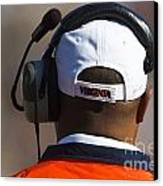 Back Of Mike London Head With Headset Virginia Cavaliers Canvas Print by Jason O Watson
