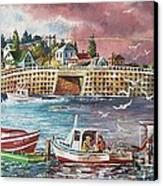Bailey Island Cribstone Bridge Canvas Print by Joy Nichols
