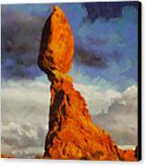 Balanced Rock At Sunset Digital Painting Canvas Print