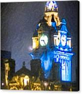 Balmoral Clock Tower On Princes Street In Edinburgh Canvas Print by Mark E Tisdale