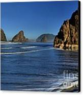 Bandon Sea Stacks In The Surf Canvas Print by Adam Jewell