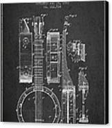 Banjo Patent Drawing From 1882 Dark Canvas Print by Aged Pixel