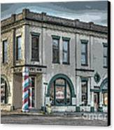 Bank To Barbershop Canvas Print by MJ Olsen