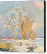 Banks Of The Seine And Vernon In Winter Canvas Print by Albert Charles Lebourg