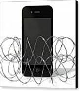 Barbed Wire Protected Smartphone Canvas Print by Allan Swart