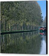 Barge On Burgandy Canal Canvas Print