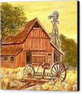 Barn  -  Windmill  -  Old Rake Canvas Print by Kenneth  LePoidevin