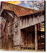 Barn At Sunset Canvas Print by Brett Engle