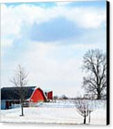 Barn Covered With Snow Canvas Print by Tina M Wenger