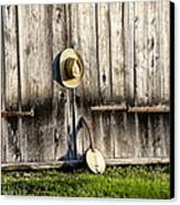 Barn Door And Banjo Mandolin Canvas Print by Bill Cannon