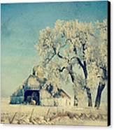 Barn Frosty Trees Canvas Print by Julie Hamilton