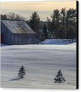 Barn In Snow In Color Canvas Print by Donna Doherty