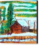 Barn Near Loa Utah 1 Canvas Print by Richard W Linford