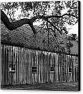 Barn With Brick Silo In Black And White Canvas Print