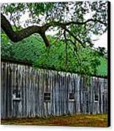Barn With Brick Silo Canvas Print by Julie Dant