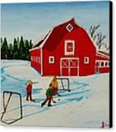 Barn Yard Hockey Canvas Print by Anthony Dunphy