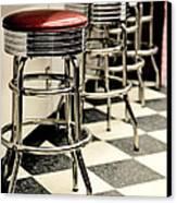 Barstools Of Vintage Roadside Diner Canvas Print by Phillip Rubino