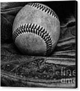 Baseball Broken In Black And White Canvas Print