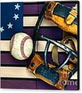 Baseball Catchers Mask Vintage On American Flag Canvas Print