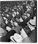Baseball Fans At Yankee Stadium For The Third Game Of The World Canvas Print by Underwood Archives