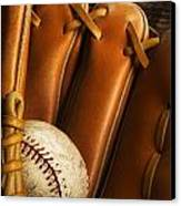 Baseball Glove And Baseball Canvas Print by Chris Knorr