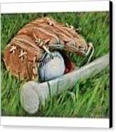 Baseball Glove Bat And Ball Canvas Print