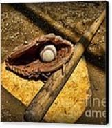 Baseball Home Plate Canvas Print by Paul Ward