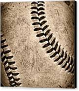 Baseball Old And Worn Canvas Print by Paul Ward