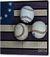 Baseballs On American Flag Folkart Canvas Print by Paul Ward