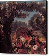 Basket Of Flowers In A Park Canvas Print by Eugene Delacroix
