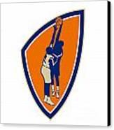 Basketball Player Dunk Block Ball Shield Retro Canvas Print by Aloysius Patrimonio