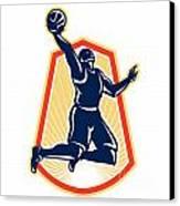 Basketball Player Dunk Rebound Ball Retro Canvas Print by Aloysius Patrimonio