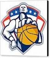 Basketball Player Holding Ball Crest Retro Canvas Print by Aloysius Patrimonio