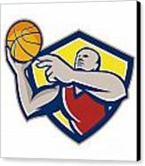 Basketball Player Laying Up Ball Retro Canvas Print