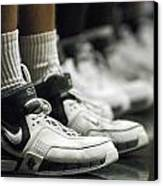 Basketball Shoes In A Row Canvas Print by Replay Photos