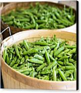 Baskets Of Fresh Picked Peas Canvas Print by Edward Fielding