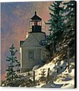 Bass Harbor Light In A Winter Storm Canvas Print