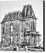 Bates Motel Haunted House Black And White Canvas Print