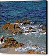 Bathing In The Sea - La Coruna Canvas Print by Mary Machare