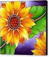 Batik Sunflower Canvas Print by Kat Poon