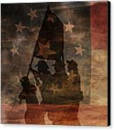 Battle Flag Silhouette 1st Of Three Canvas Print by Randy Steele